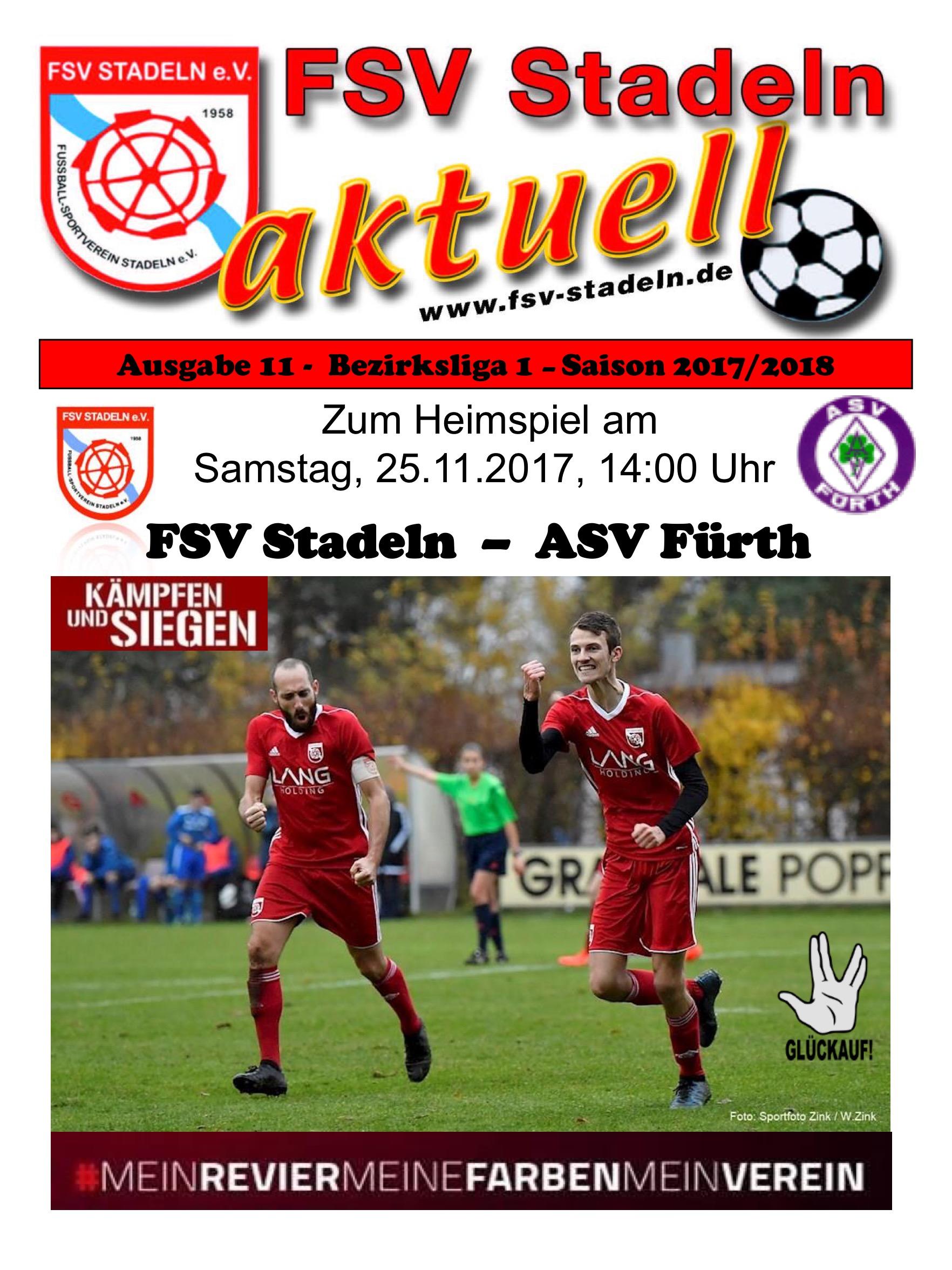 Stadionheft 11 zum Heimspiel des FSV Stadeln gegen ASV Fürth – FSV ...