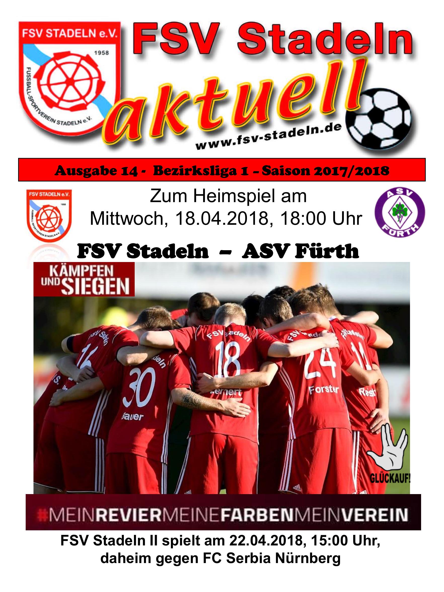 Stadionheft 14 zum Heimspiel des FSV Stadeln gegen ASV Fürth – FSV ...